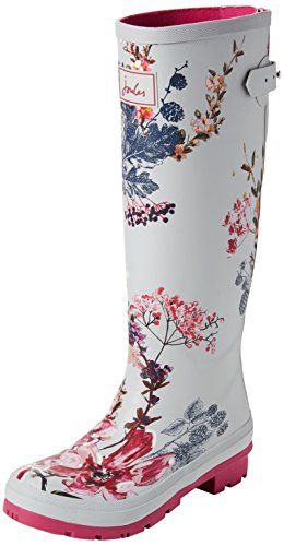 Joules Welly Print, Bottes de Pluie Femme, French Navy Dogs in Leaves Argent