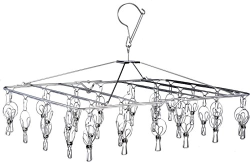 Pro Chef Kitchen Tools Stainless Steel Clothes Drying Rack - Folding Portable Metal Hanger is Collapsible to Save Space to Hang Dry Laundry or Organize Closets Includes 30 Wire Clothespins