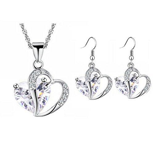 Set Earrings Pendant 18kgp (fonk: 18KGP Heart rhinestones Pendant Necklace Earrings set 80172)