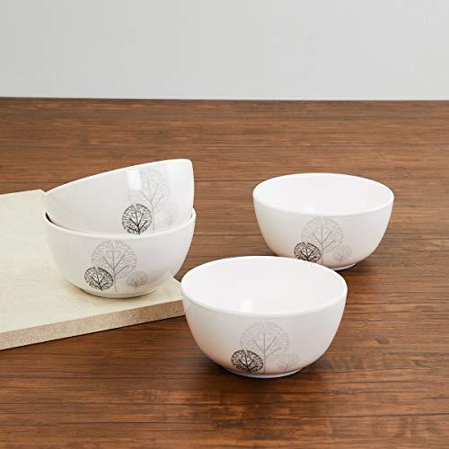 Home Centre Melamine Printed Bowl   Set of 4, White