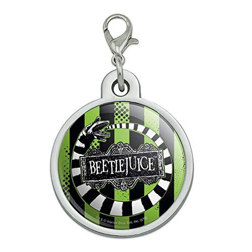 Beetlejuice Dog Costume (GRAPHICS & MORE Beetlejuice Beetle Worm Chrome Plated Metal Pet Dog Cat ID Tag -)