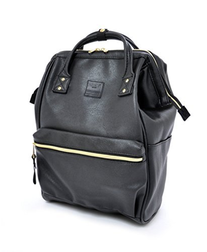 - Anello Leather Square Shaped Backpack (Black)