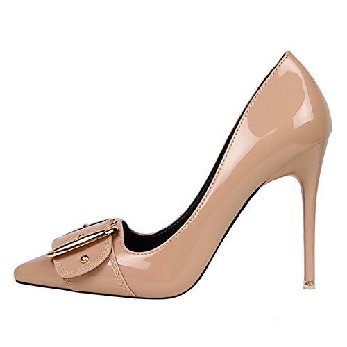 Talon Boucle Grande Camel Escarpins Haut Beige Soirée Aiguille Pointu Femme Bout OALEEN Chaussures Vernis YRq8wYg