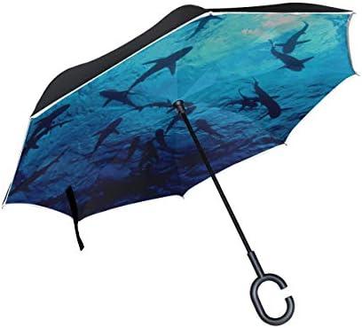 Double Layer Inverted Reverse Umbrella für Frauen Weißer Hai Schwimmen Licht Faltschirm Umklappbarer Upbeach Regenschirm Winddichter UV-Schutz für Regen Mit C-förmigem Griff
