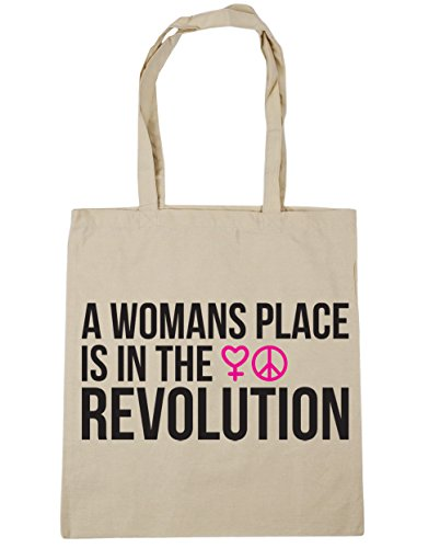 HippoWarehouse A Womans Place Is In The Revolution Tote Shopping Gym Beach Bag 42cm x38cm, 10 litres Natural