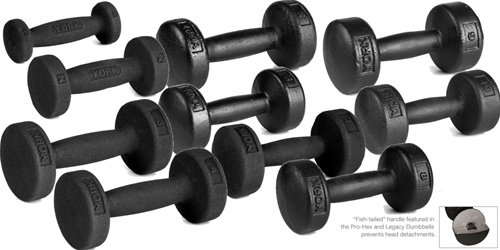York Barbell 1-10 lb Legacy Solid Professional Round Dumbbell Set