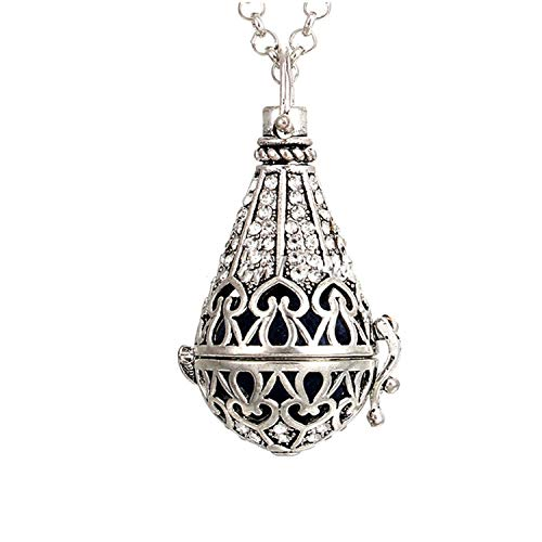 1 Pc Stainless Steel Tone Angel Caller Open Essential Oil Diffuser Pendant Necklace Aroma Diffuser Necklace with Lava Rock,Style 12 ()