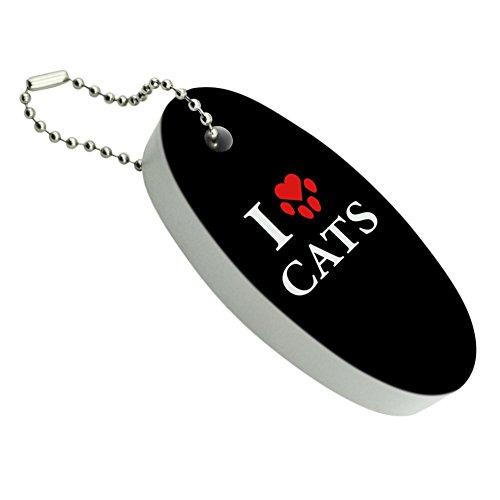 I Love Cats Heart with Paw Print Floating Foam Keychain Fishing Boat Buoy Key Float Cat Heart Keychain
