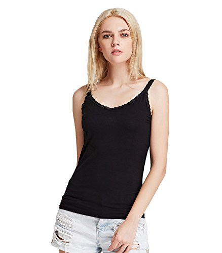 Top Lace Tank Ribbed (Liang Rou Women's Ribbed Knit Lace Camisole V-Neck Black S)