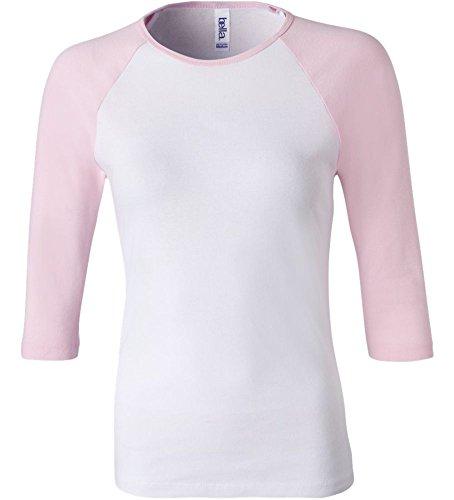 Bella+Canvas Ladies' Baby Rib 3/4-Sleeve Contrast Raglan Tee - White/ Pink - S