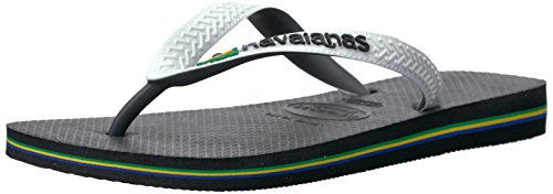 Havaianas Women's Brazil Mix Flip Flop Sandals,Black/White,37/38 BR (7/8 M US Women's/5-6 M US (Mix Flip Flops Thong Sandals)