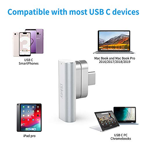 Magnetic USB C Adapter 20Pins Type C Connector, Support USB PD 100W Quick Charge, 10Gb/s Data Transfer and 4K@60 Hz Video Output Compatible with MacBook Pro/Air and More Type C Devices (Silver)