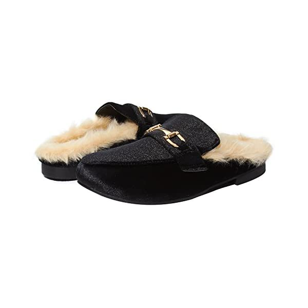 Sara Z Womens Ladies Backless Loafer Mule Shoes With Faux Fur linings and Buckle (See More Colors and Sizes)