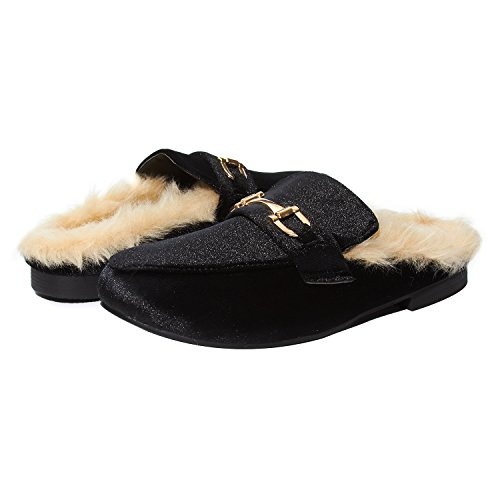 Sara Z Womens Ladies Backless Loafer Mule Shoes With Faux Fur linings and Buckle Black Velvet Size 9/10 Buckle Mule