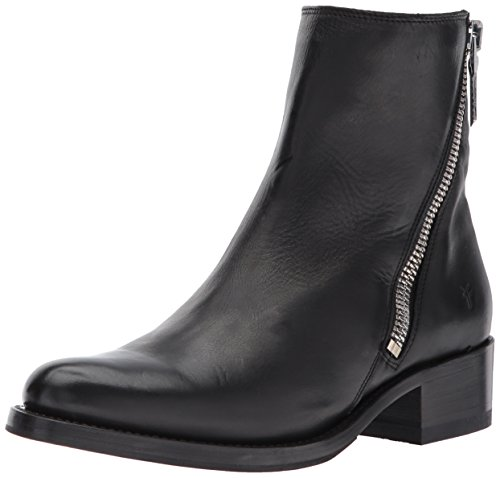 (FRYE Women's Demi Zip Bootie Boot, Black Polished Soft Full Grain, 8 M)