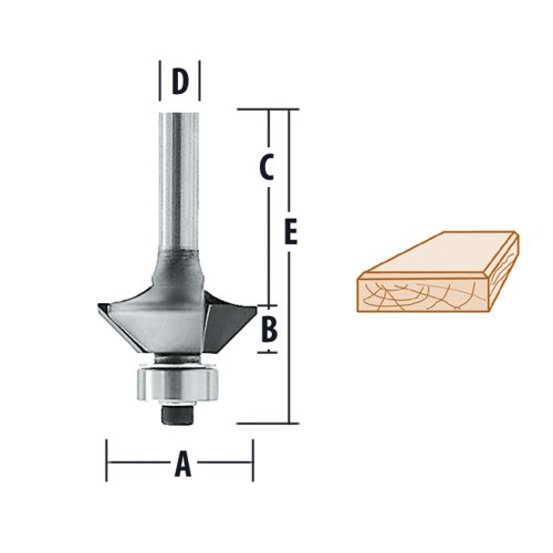 Makita 733128-3A Router Bit, 15 Degree Bevel Trim, 2 Flute, 1/4-Inch SH, C.T.