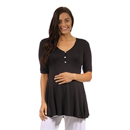 24Seven Comfort Apparel Women's Henley 3/4 Sleeve Flared Maternity Tunic Top Blouse for cheap
