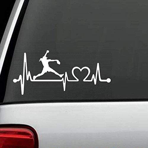 K1073 Softball Girl Pitching Heartbeat Lifeline Decal Sticke