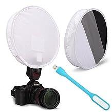 First2savvv XJPJ-FG31-01 Collapsible Softbox Light Flash Diffuser Modifier For All DSLR Camera Flash gun Gray card for Nikon Canon Speedlight SB-600, SB-800, SB-900, 380EX, 430EX, 550EX, 580EX, Vivita Flash, Sunpack, Nissin, Sigma, Sony, Pentax, Olympus, Yongnuo + USB lamp