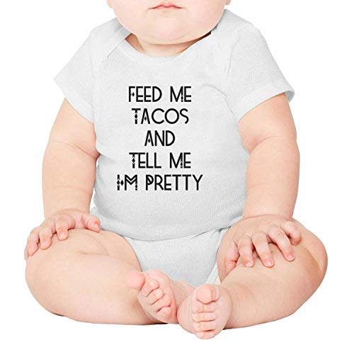 Artisfive Feed Me Tacos Tell Me I'm Pretty Unisex Baby Onesies Infant (Johnny Special Occasion Dress)