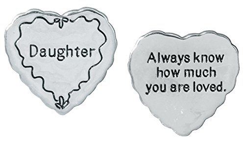 Daughter Charm Saying - BANBERRY DESIGNS Daughter Pocket Token Charm Gift for Daughter - Always Know How Much You Are Loved - Heart Shaped Engraved Metal Memento Keepsake - Birthday Gift for Daughter - 1.25 Inch