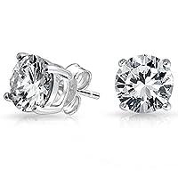 Freeman Jewels Sterling Silver Round Cubic Zirconia Diamond Birthstone Stud Earrings for Women
