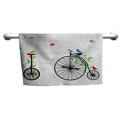 duommhome Bicycle Quick Dry Towel Flying Birds and Flowers on Old Single Wheel Bikes Happiness and Joy Pedals Graphic W8 x L23 - Single Pedal Avenger