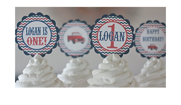 12 Red Navy Blue and Grey Chevron Vintage Red Truck Theme Birthday Cupcake Toppers Ask About our Party Pack Sale