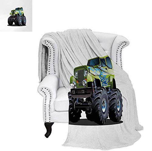 - Throw Blanket Cool Monster Truck Boyhood Dreams Giant Wheels Off Road Vehicle Warm Microfiber All Season Blanket for Bed or Couch 80