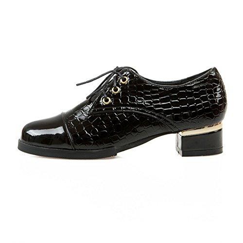 Amoonyfashion Mujeres Low-heels Solid Con Cordones De Charol Redondo Cerrado-puño-zapatos Negro