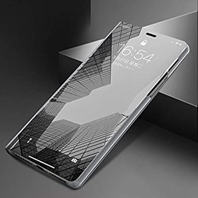 UNIYA iPhone X/XS Mirror Case, PC+PU Flip Electroplate Mirror 360 Degree Protective Case Cover (Silver): Toys & Games