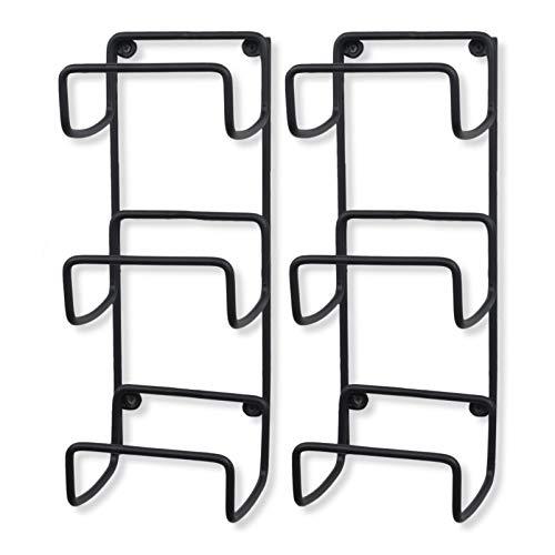 Wallniture Wrought Iron Metal Towel Rack 3-Section 16 Inch Wall Mountable Yoga Mat Foam Roller Holder in Black Set of 2 (Storage Mat Yoga)