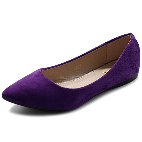 (Ollio Women's Ballet Comfort Light Faux Suede Multi Color Shoe Flat ZM1038(8.5 B(M) US, Purple))