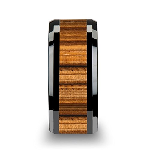 Thorsten ZEBRANO Black Ceramic Ring with Beveled Edge Wedding Band and Real Zebra Wood Inlay 6mm from Roy Rose Jewelry