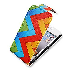 LCJ W Lines Up-Down Turn Over PU Leather Full Bady Case for iPhone 4/4S