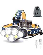 SYOSIN LED Stirnlampe USB Wiederaufladbar Kopflampe,Superheller,Wasserdicht Leichtgewichts Mini Kopfleuchte für Camping,Fischen,Keller,Laufen,Joggen,Wandern,Lesen,Arbeiten