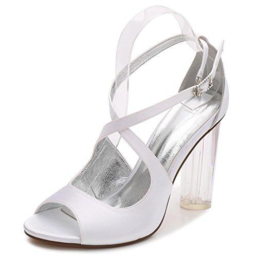 Zapatos White Toe De Crystal L Boda Heels Satén Peep Nupcial F2615 Las 4 Mujeres Plataforma yc high a5qqnTxEvB