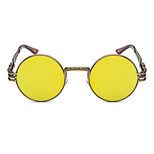 1f2f6500fa De alta calidad Ponyshop Gafas de sol con montura metálica redonda  reflexiva Hippy Steampunk para hombres
