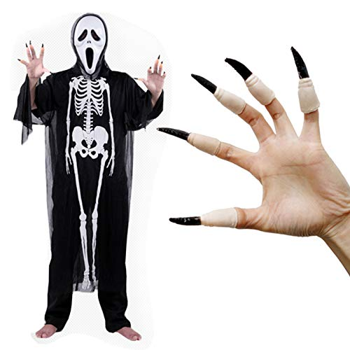 DecorFav Halloween Fake Nails Adult Role Playing Ghost Flexible Rubber Finger Jacket]()