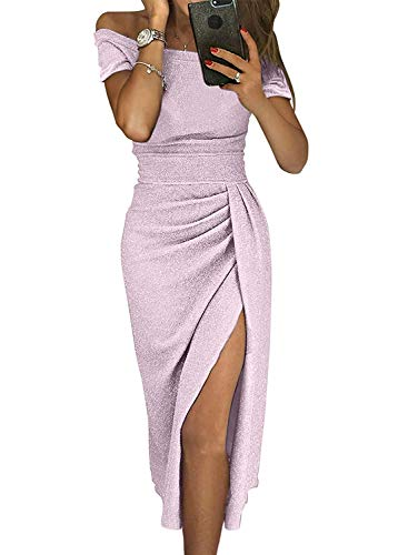 - Tiksawon Sequin Dress for Women Off Shoulder Fashion Ruched Metallic Knit High Slit Bodycon Dress Evening Party Cocktail Prom Dresses Light Purple S