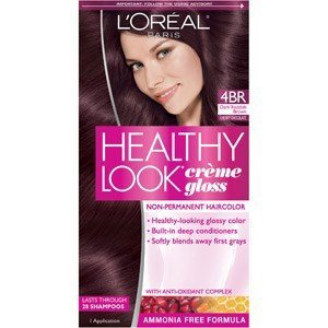 L'Oreal Healthy Look Creme Gloss Hair Color 4Br Dark Red Brown Cherry Chocolate, 1 ct (Pack of 3)
