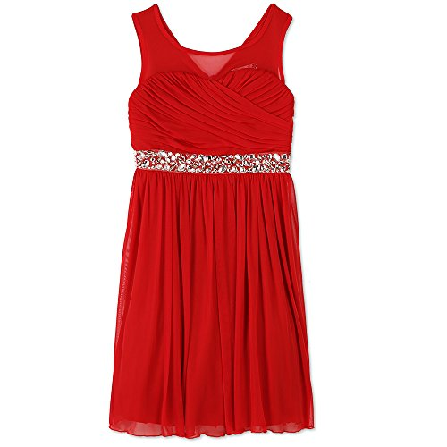 Speechless Girls' Big Pretty Party Dress with Sweetheart Bodice, New red, 10