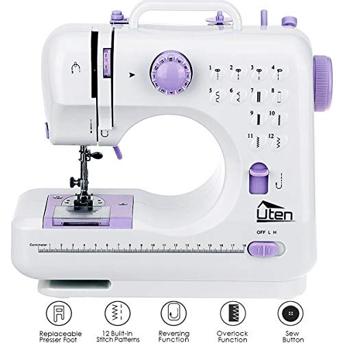 AGM Portable Sewing Machine, 12 Stitches 2 Speed Heavy Duty Sew Machine, Handheld Quilting Embroidery Overlock Quick Sewing Machine (Sewing And Serger Machine Combo)