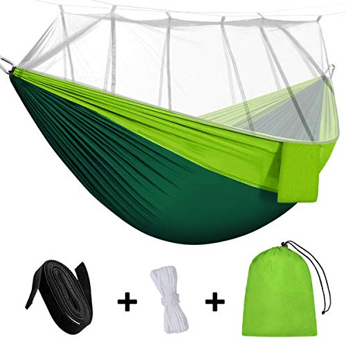 Rusee Camping Hammock, Mosquito Net Outdoor Hammock Travel Bed Lightweight Parachute Fabric Double Hammock for Indoor, Camping, Hiking, Backpacking, Backyard