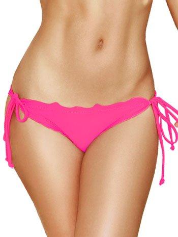 4d6db64ce1d Amazon.com: Hot Pink Scalloped Tie Side Scrunch Bikini Bottoms ...
