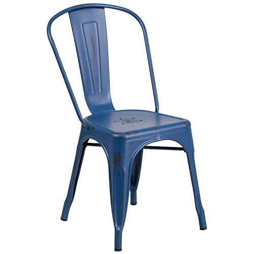Flash Furniture Distressed Antique Blue Metal Indoor-Outdoor Stackable Chair (For Furniture Sale Distressed)