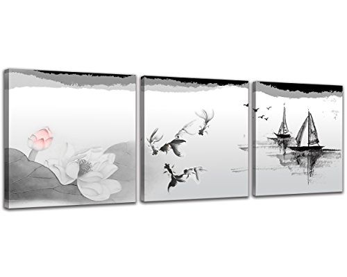 NAN Wind Black and White Traditional Chinese Painting of Lotus Flowers and Birds Canvas Prints 3 Panels Wood Framed Chinese Ink Painting Wall Art Landscape Painting 12x12inches 3pcs/Set (Chinese Framed Painting)