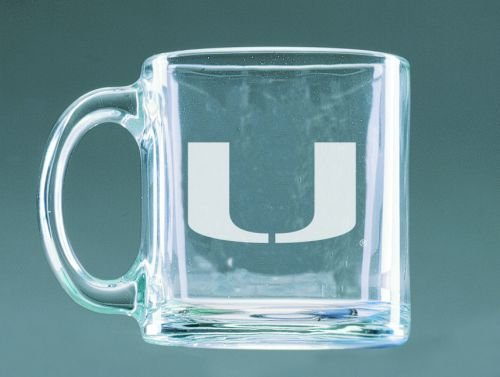 Miami Hurricanes Deep Etched Clear Glass Mug (Miami Hurricanes Round Crystal)