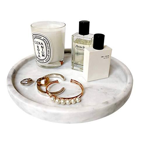 "BEACH'D 10"" Genuine Marble Round Vanity Tray, Bathroom Tray, Jewelry Purfume Tray"
