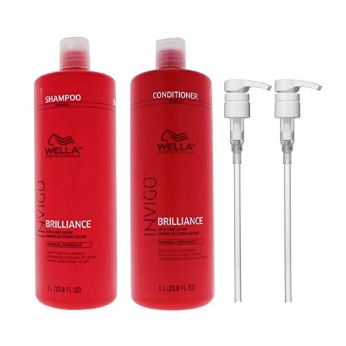 Bundle -4 Items : WELLA Brilliance Shampoo & Conditioner Fine to Normal Coloured Hair, Liter Duo 33.8 Oz + Wella liter pumps (2)